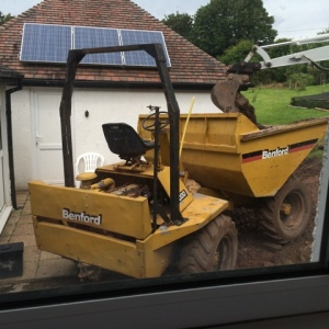Dumper close to house