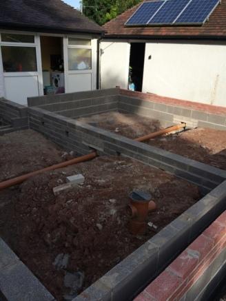 Brick work before block and beam 4
