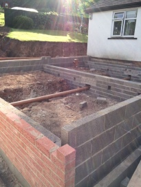 Brick work before block and beam