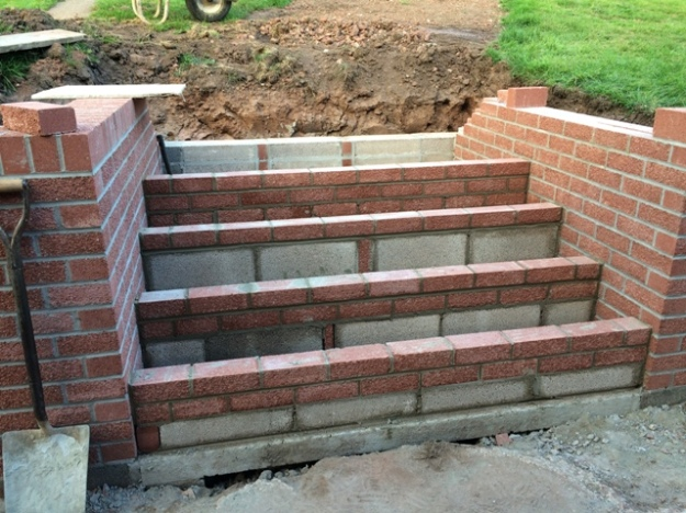 Progress on the new step area from patio