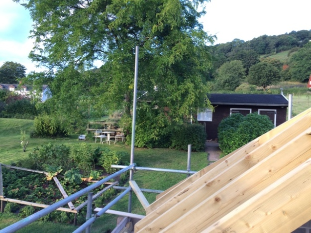 View to back garden from scaffolding over new kitchen
