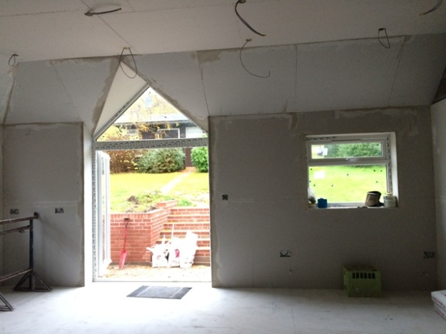 plaster-board-complete-in-new-kitchen-over-hip-roof