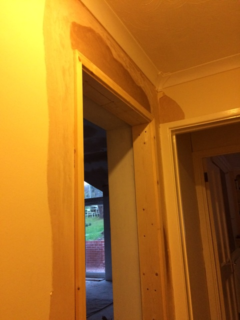 plaster-repaired-around-new-doorway-entrance-to-kitchen-from-corridor
