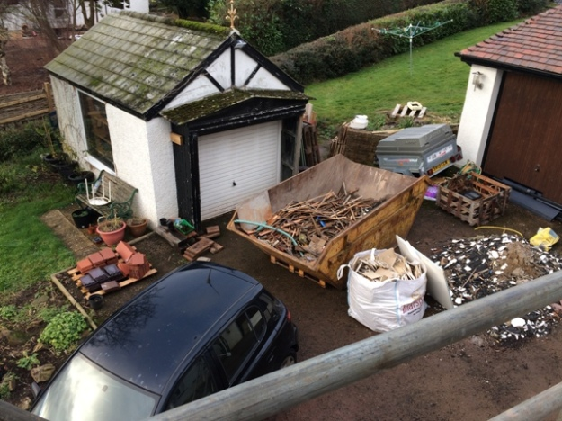 view-from-top-scaffolding-over-small-garage