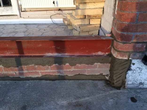 new-steel-beam-to-support-front-of-the-house-over-foundation-wall