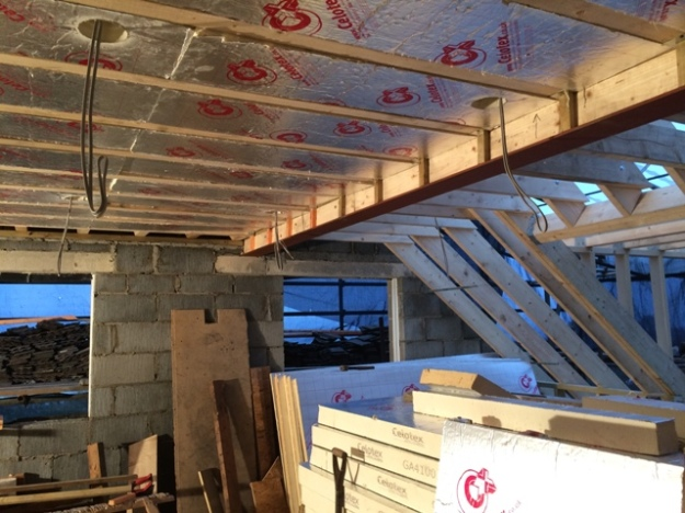 wiring-and-insulation-of-bedroom-ceiling-in-progress-today