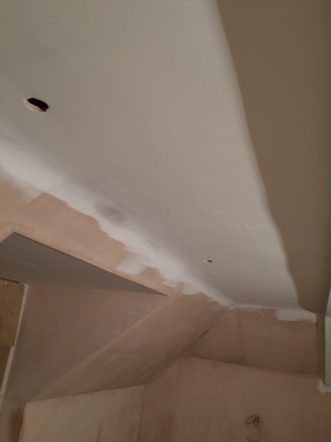 First coat of emulsion on bedroom ceiling pic 2