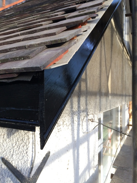 Gable end boards painted black