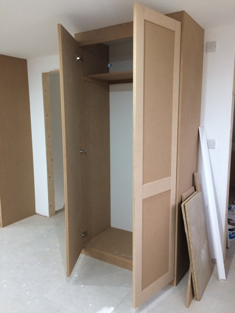 Inside double wardrobe - progress so far