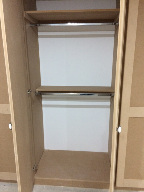 Inside the new wardrobes - hanging rails and small shelf - perfect, thanks Steve and Luke