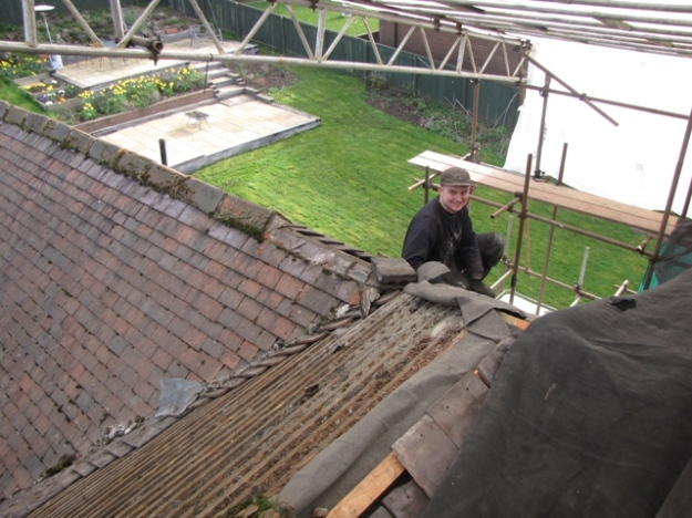 Lea's photo showing Luke removing tiles taken 14.3.17