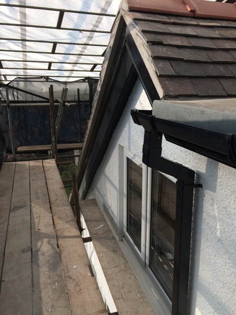 left gable and new gutterings and downpipes