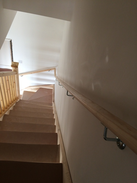 Looking down the new staircase - new handrail up and fitted on the right pic 2