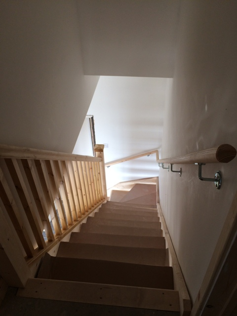 Looking down the new staircase - new handrail up and fitted on the right