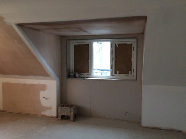 new dormer window from inside, unfortunately a mistake at the suppliers meant that the sealed units were incorrect size
