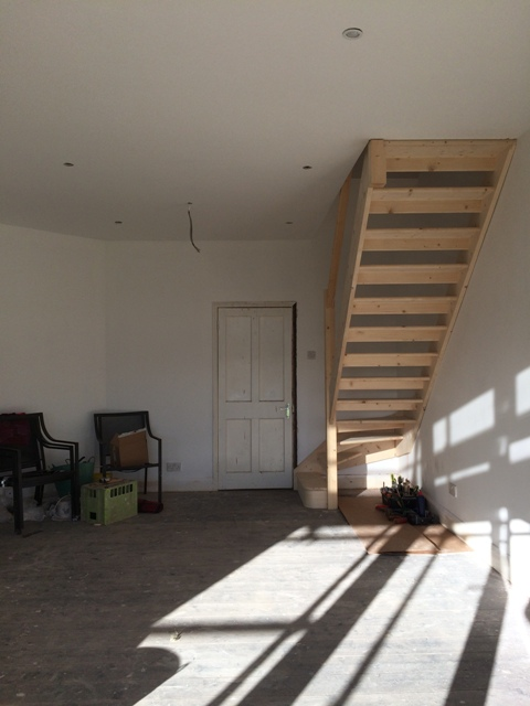 New staircase now fixed in place in our new sun lounge, looks so smart and takes up little room