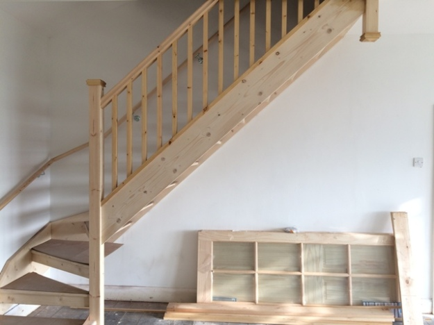 New staircase with the stained and treated spindles now fitted