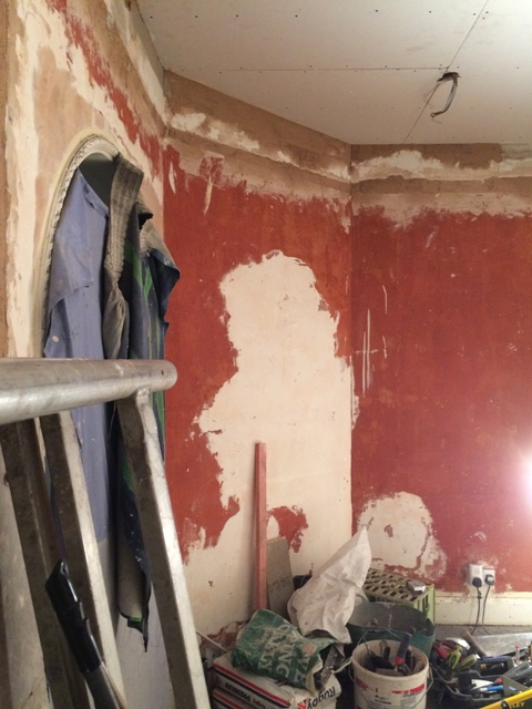 New sun lounge, angled wall has been plastered filling in any uneven divets and holes and missing plaster where picture rail was removed
