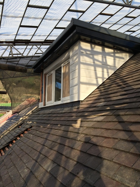 Newly clad side of dormer