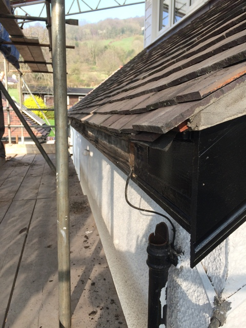 Old guttering now removed as an extra to the original work - old guttering was full of holes and broken in places