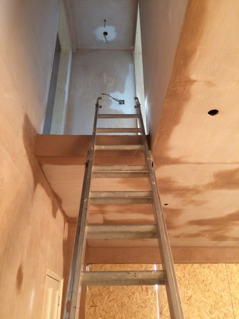 Plastering around the top of the staircase position