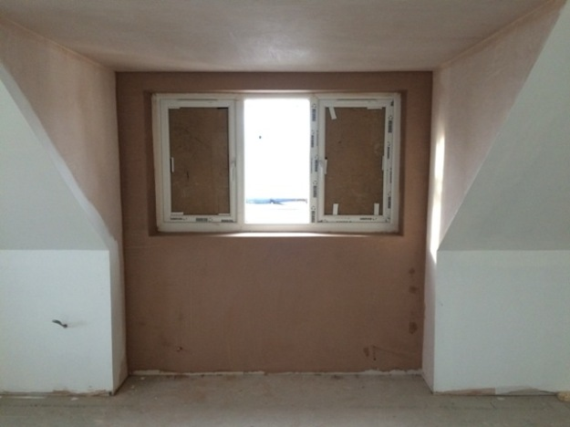 Plastering now completed around the dormer window