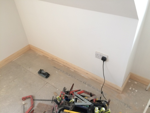 Skirting boards around bedroom now complete