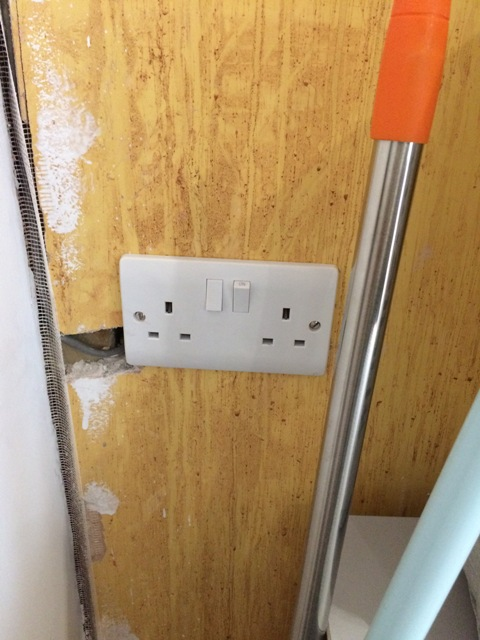 Sockets relocated in the utility room, fuse switch removed from above by Joe, Ballan Electrical