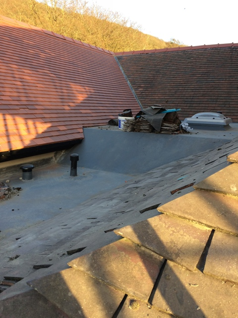 view round to flat roof over utility and newly tiled roof sloping down to utility room