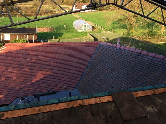 View through to field and the polytunnel from the flat roof over the new bedroom