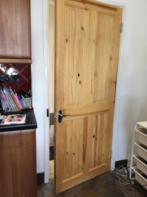 old kitchen door now varnished
