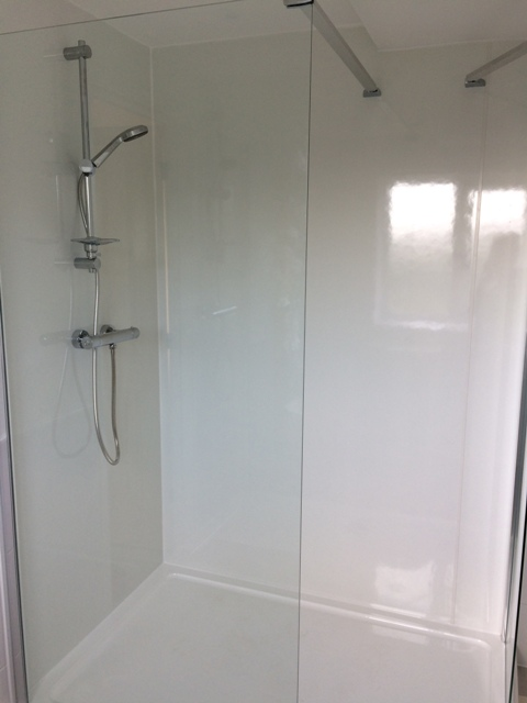 Bathroom all finished - view of new shower, showerboards and screen