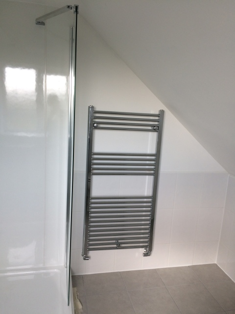 Radiator towel rail in new upstairs bathroom