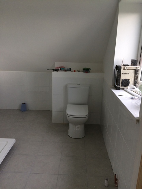 Upstairs bathroom - toilet installed and wall tiles grouted