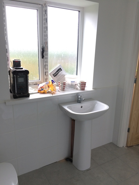 Wash basin installed - view towards the window