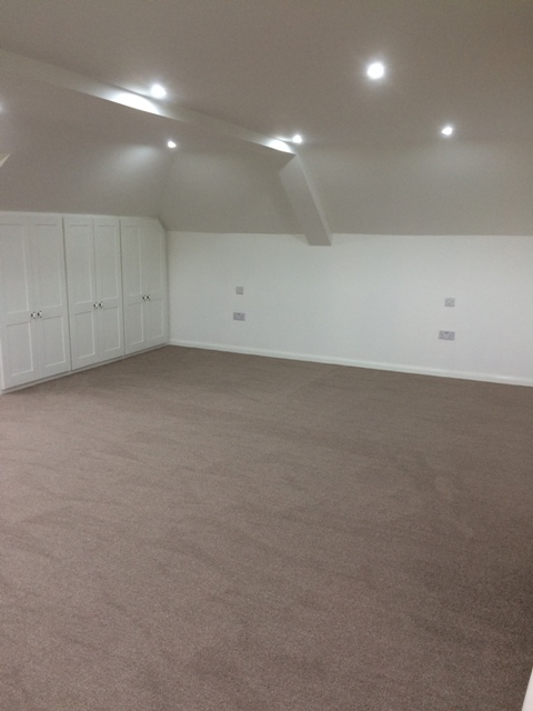 New upstairs master bedroom, with carpet all laid